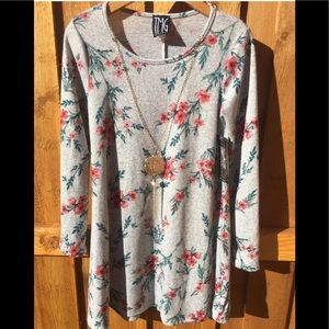 TMG Dress Floral print Long Sleeve tunic